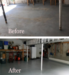 Before and after garage floor refinished